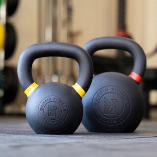 """The harder you work for something, the greater you'll feel when you achieve it.""  That rings true for kettlebell work. Whether it's swings, cleans, or snatches, our single cast kettlebells stand the test of any workout.  Available in 8kg (18lbs) up to 36kg (80lbs), along with a set.  #WeAreGriffin"