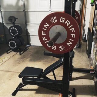 """What you get by achieving your goals is not as important as what you become by achieving your goals."" - Zig Ziglar  Thanks for sharing your #homegym setup @coachjpwilson!  ""My gift to myself arrived today. 55lb competition bumpers are 🔥. Unfortunately, it's an upper body day. Can't wait to clean and deadlift with them tomorrow! 🏋🏼‍♂️""  #WeAreGriffin"
