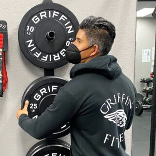 Storing your equipment off the ground is key for space saving. We personally love storing weights on a rack or on the wall like @griffinfitness_sm!  For our GR3 restock we'll have rack extensions and weight horns for ultimate storage. Stay tuned! We're aiming for early April.  #WeAreGriffin